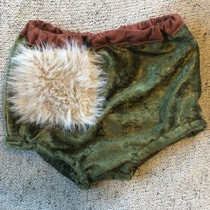 Small shop green velvet fur bloomers sz 12 mo